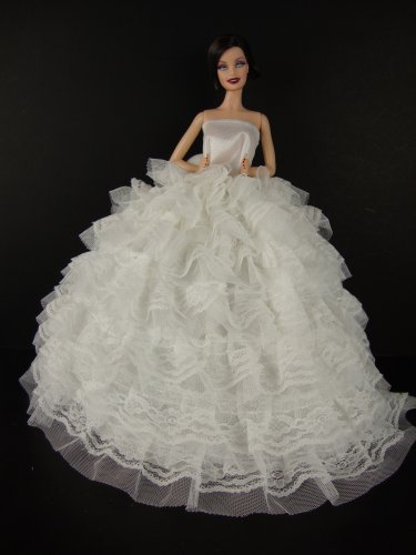 Beautiful White Gown with Tons of Ruffles Ball Gown Made to Fit the Barbie Doll