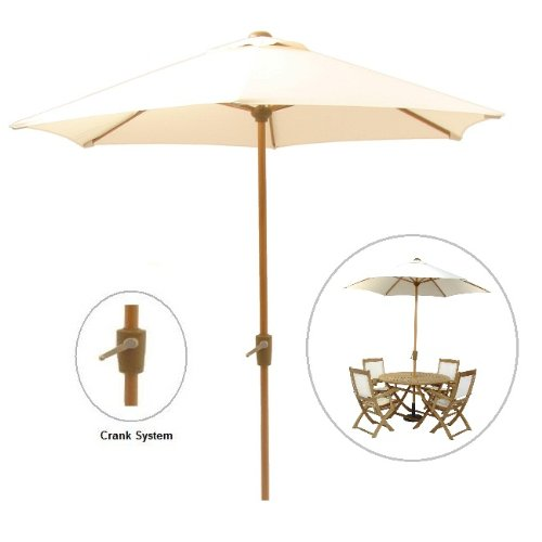 2.5M Ivory Parasol with Crank / Wood Look Aluminium Frame