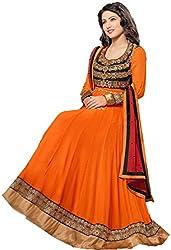 Shayona Enterprise Women's Brocade & Georgette Unstitched Dress Material (fenta_Orange_Free Size)