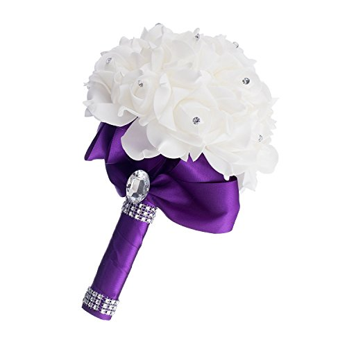 Bridal Bouquet Rose Foam Crystal Wedding Bridesmaid Flower Satin Decoration 5 Colors - Dark Purple