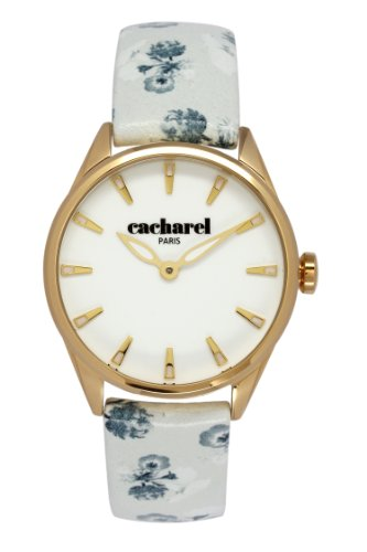 Cacharel CLD/1BB - 012 Women's Quartz Analogue Watch-White Face-White Leather Strap
