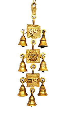 Odishabazaar Subh Surya Labh Decorative Brass Hanging Bells - 13 X 3.25 Inches