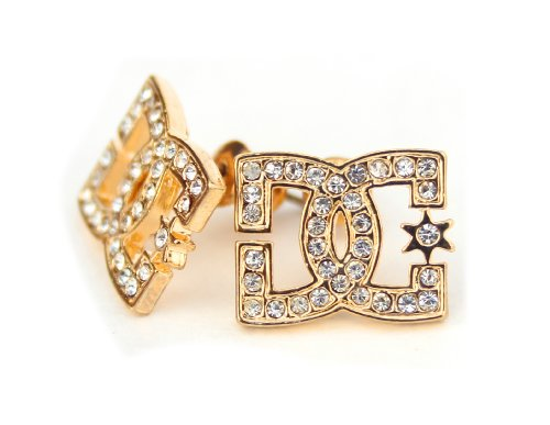 Rob Dyrdek Iced DC CZ Stud Earrings, Gold Tone (Monster Energy Necklace compare prices)