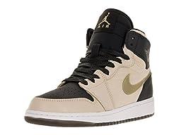 Nike Jordan Kids Air Jordan 1 Ret Hi Prem Hc Gg Prl Wht/Mtlc Gld Str/Blk/White Basketball Shoe 4 Kids US