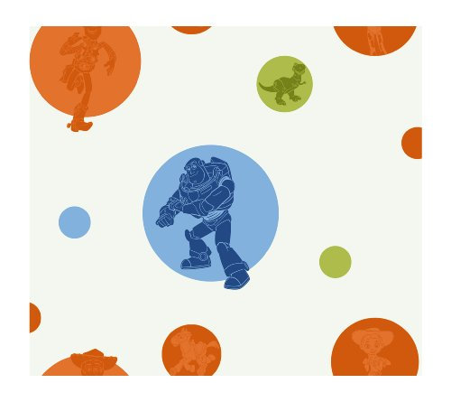 York Wallcoverings Disney Kids DK5827 Toy Story Circles & Silhouettes Wallpaper, White/Orange/Blue