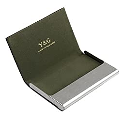 CC1014 Dark Green name card holder mens gift Black Stainl?ess Steel Y&G leather card holder with gift box