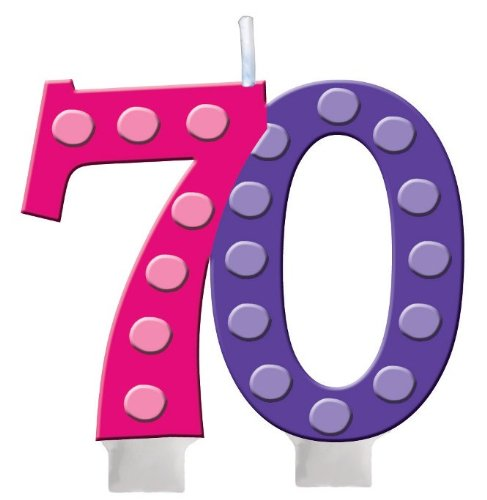 70th Birthday Molded Numeral Cake Candle