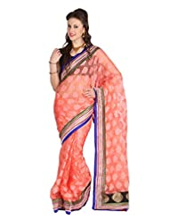 Mina Bazaar Brasso And Net Saree With Blouse Piece - B00NSCQHI6