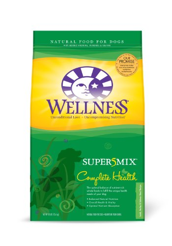 Wellness Super5Mix Dry Dog Food, Complete Health Lamb/ Barley/Salmon Recipe, 30-Pound