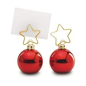 Pack of 6 christmas bauble place setting name card for Place settings name card holders