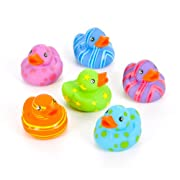 12 Colorful Pattern Rubber Ducky Party Favors