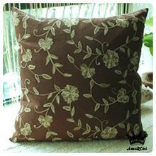 Diaidi Country Rustic Flower Hold Pillow Cover Back Cushion Cover Beige Brown Cotton Crochet Cushion