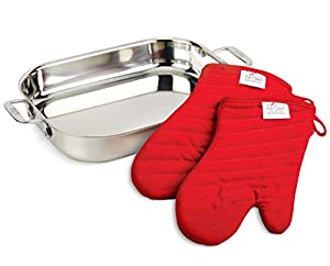 All-Clad 00830 Stainless-Steel Lasagna Pan with 2 Oven Mitts / Cookware, Silver from Groupe SEB