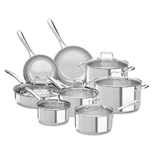 Kitchenaid Stainless Steel Cookware Set (14 Pc.) - Assorted Colors, Pots , Pans, Frying Pans, Restaurant, Commercial, Industrial (Stainless Steel) By Amgood