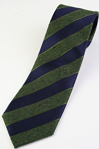 (フランクリンミルズ) FRANKLIN MILLS ネップのレジメンタルストライプタイ ネイビー×グリーン系 シルク100% ネクタイ st16665