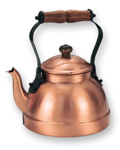 Old Dutch- 2 Quart Decor Copper Teakettle With Satin Finish And Wood Handle