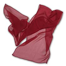 Thai Silks! 12.50X60 inches, 6MM Chiffon Scarf, One Size, Claret