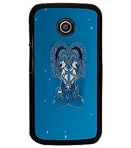 PrintDhaba Zodiac Gemini D-5605 Back Case Cover for MOTOROLA MOTO E (Multi-Coloured)