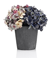Artificial Autumn Hydrangea in Slate Vase