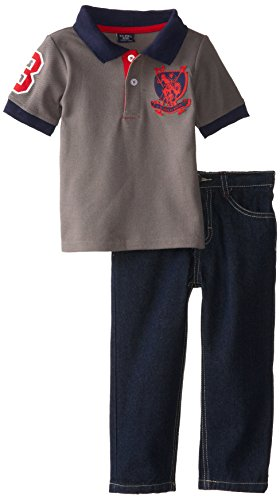 U.S. Polo Assn. Little Boys' Pique Polo And Denim Jean Set, Dark Grey, 4T