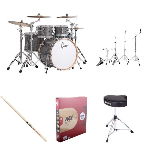 Gretsch Drums Rn1-E8246-Bm New Renown Maple 4-Piece Euro Drum Set Shell Pack - Blue Metal Bundle