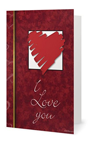 Valentines Day Love Red Heart Spouse Husband Beautiful Wife Sweetheart (ILU) Greeting Card (5x7) by QuickieCards. Always Fast FREE Shipping