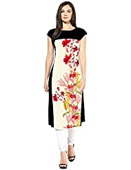 Binny Creation Women's Art Crepe Digital Print Straight Kurta (BK1024-Flower Print)