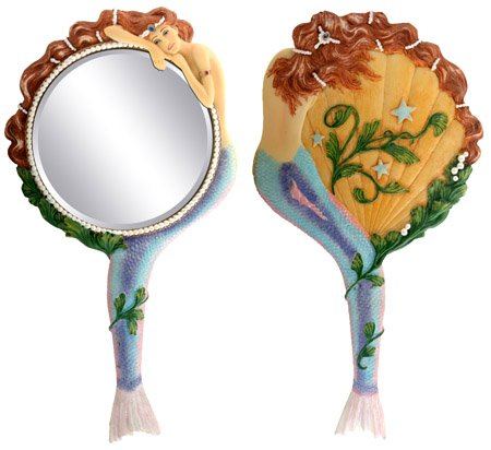 Mermaid Hand Mirror Collectible Sea Nymph Decoration Figurine