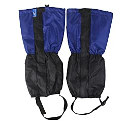 Generic 1 Pair Adult's Fleece Thermal Waterproof Snow Gaiters Cover - Blue Black