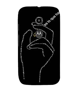 EPICCASE Hand symbol case Mobile Back Case Cover For Moto E 2nd Generation (Designer Case)