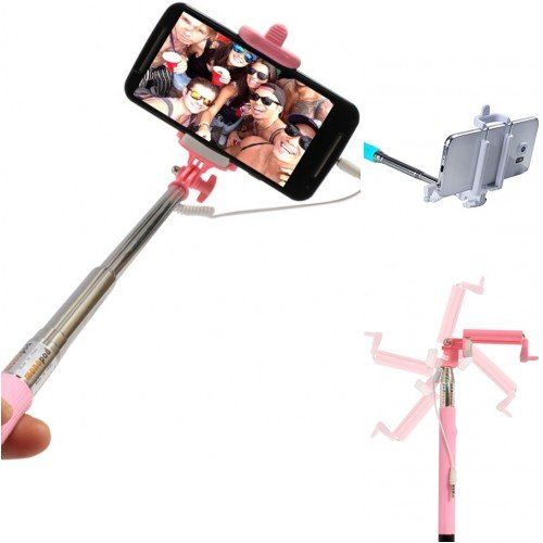 Totelec PGS Selfie Stick via Aux Cable for Apple Iphone & Android Mobile.