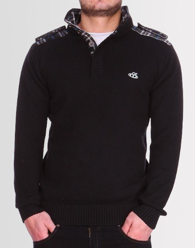 Kear and Ku Mens Knitted Black Jumper : Black - Xxl