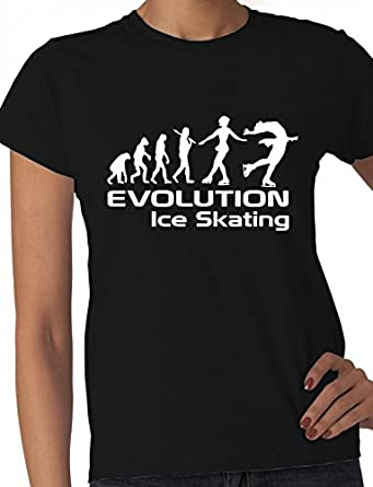 Evolution Of Ice Skating Skater Gift Ladies T Shirt Ladies Fit Small Black