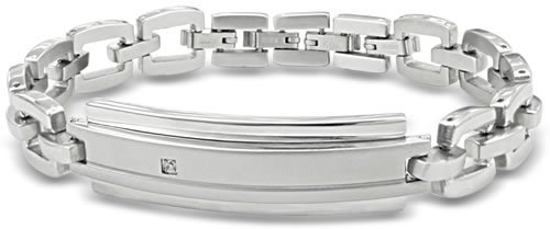 Stainless Steel Bracelet With Diamond