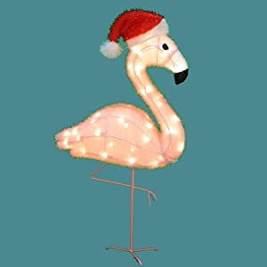 "32"" Pre-Lit Pink Flamingo with Santa Claus Hat Soft Tinsel Christmas Yard Art"