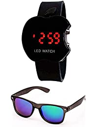 Sheomy Unisex Combo Pack Of Sunglasses And LED Digital Black Dial Apple Shape Watch