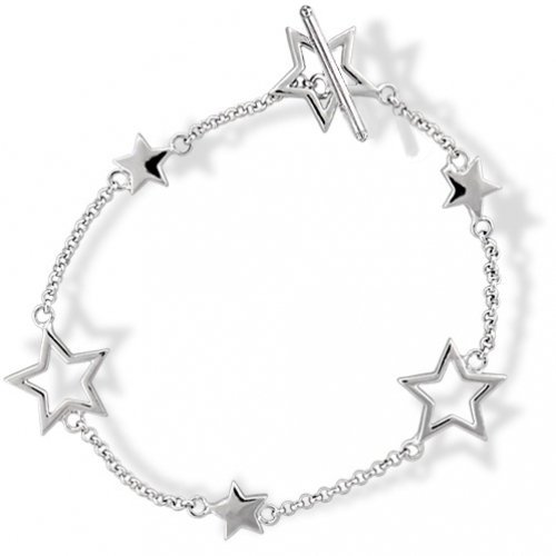 Bling Jewelry Patriotic Sterling Silver Stars Cutout Solid Star Toggle Bracelet