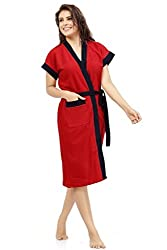 Superior Cotton Double Shaded Bathrobe- Red-Navy