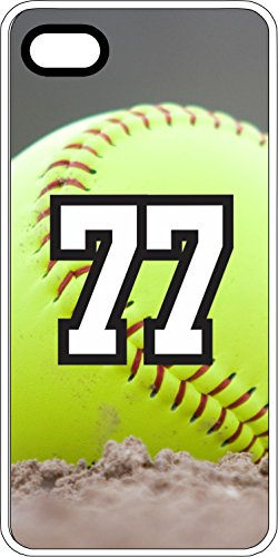 iPhone 6s 6 Case Softball Dirt Mound Any Custom Jersey Number 77 Clear Plastic (Iphone 6 Softball Cases Number 77 compare prices)