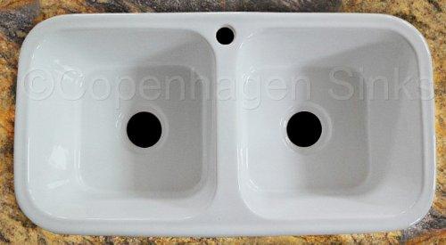 White Ceramic Double Bowl Kitchen Sink: 33 33in Square Shaped Inner Bowl Modern White Porcelain