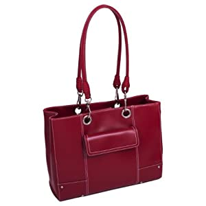 Mcklein USA Serena Ultra-Smooth High-Gloss Faux Leather Laptop Bag, Red (11096) by McKleinUSA