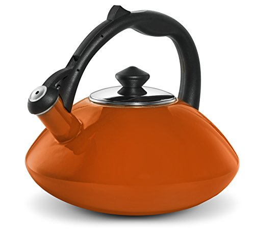 Osaka, Enamel Coated Whistling Tea Kettle - Large 3 Quart Capacity Teakettle