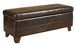 Modus Furniture Upholstered Milano Storage Bench, Chocolate Leatherette