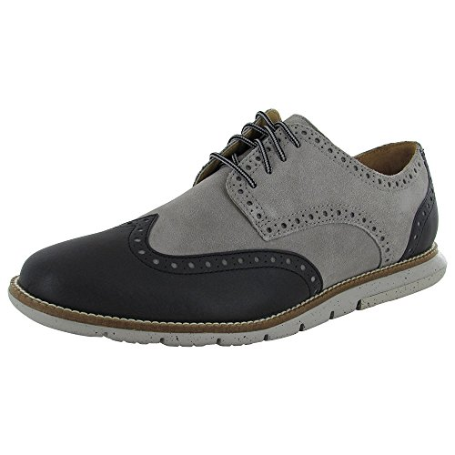 Cole Haan Men Grandsprint Wingtip II Lthr/Sde Shoe, Paloma/Black Suede, US 8W (Cole Haan Mens Grey Shoes compare prices)