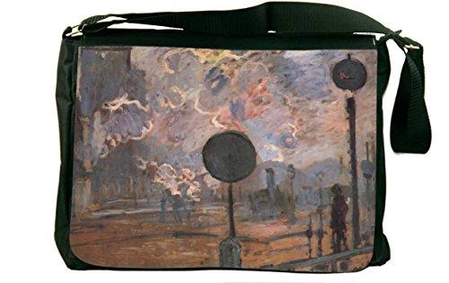 Rikki Knighttm Claude Monet Art Outside The Station Saint Lazare The Signal Messenger Bag - Shoulder Bag - School Bag For School Or Work With Matching Neoprene Pencil Case front-611088