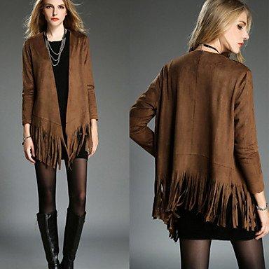 EIK DONNE - Giacche e cappotti - Vintage / Sexy / Bodycon / Informale / Feste Supporto - Maniche lunghe Pelle , brown , m