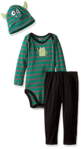 Gerber Baby Boys' 3 Piece Bodysuit, Cap, and Pant Set, Monster, 18 Months