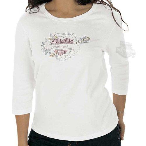 Harley-Davidson Womens Devoted Heart Bling White T-Shirt Medium