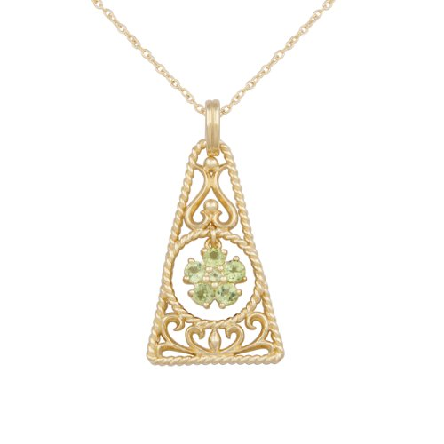 18k Yellow Gold Plated Sterling Silver Genuine Peridot Filigree Geometric Shape Pendant Necklace, 18