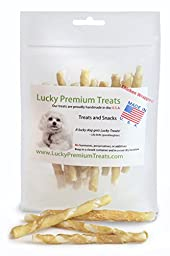 Lucky Premium Treats Rawhide Chews with REAL Chicken, Natural Gluten Free Dog Treats for Small Dogs, Made in the USA Only, Perfect Dog Training Treats